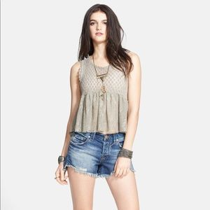FREE PEOPLE PARK SLOPE BABYDOLL PEPLUM TOP NWT M